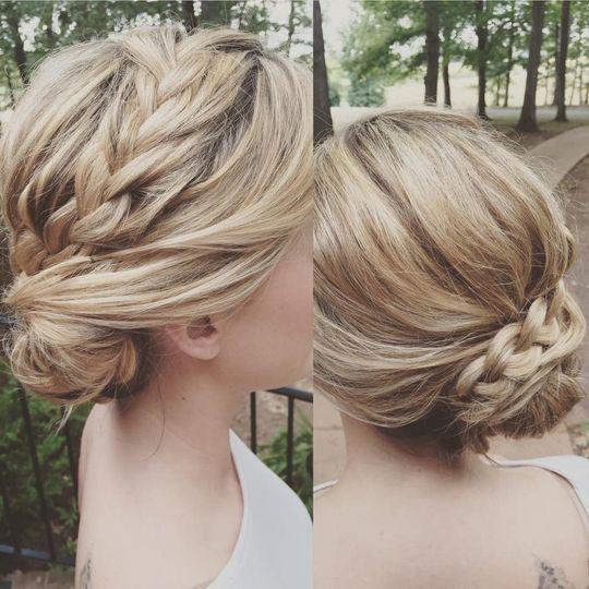 Tied braided hair