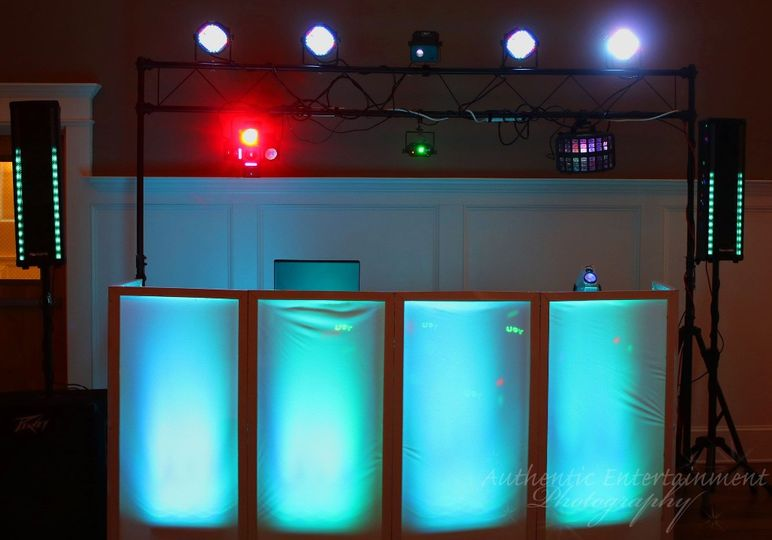 Wedding reception DJ setup