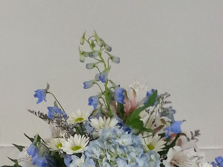 Tmx 1474912649331 Blue Delphinium And White Rose Pedistal Centerpiec Bensalem wedding florist