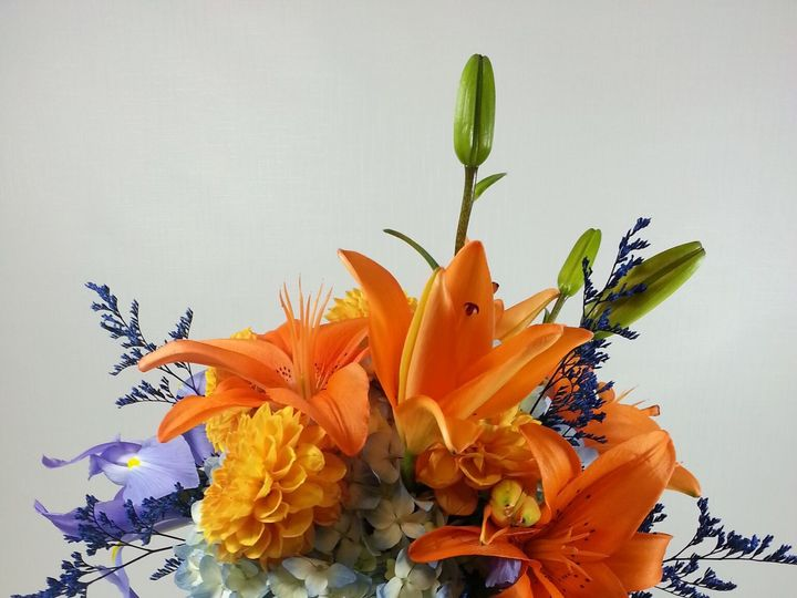 Tmx 1474912849860 Blue Hydrangea Abd Orange Lilly Centerpiece 92016 Bensalem wedding florist