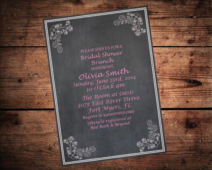 chalkboard bridal shower on wood