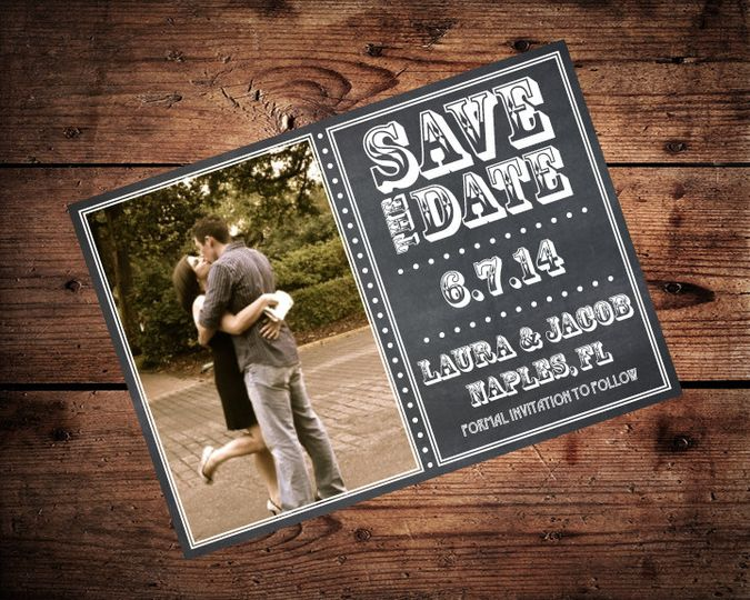 chalkboard save the date on wood