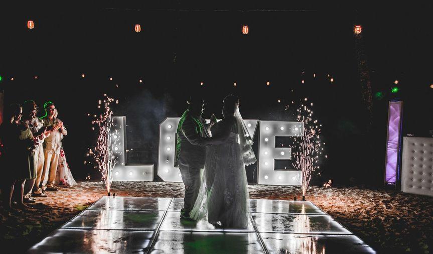 DREAMS LA ROMANA FIRST DANCE LOVE SIGN , LED DANCEFLOOR AND COLDFIREWORKS