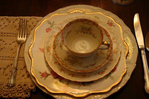 Vintage mismatched china
