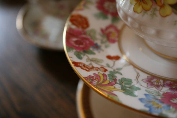 Vintage mismatched plates and cups
