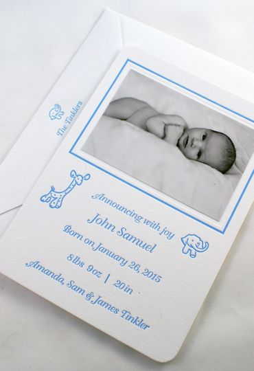 Letterpress Baby Announcement with inlaid photo and printed envelopes.