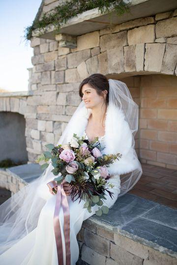 Fireplace bridal portrait