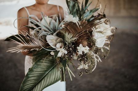 Unique desert bridal bouquet