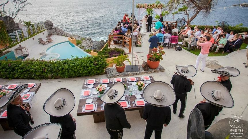 wedding ceremony at the star terrace at  Villa Mandarinas