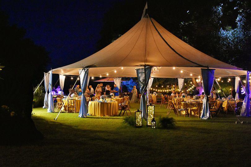Reception tent at night