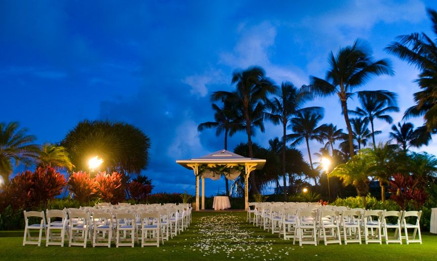 Dusk at ocean view wedding gazebo at Grand Hyatt Kauai Resort & Spa