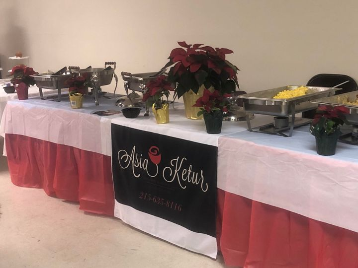 Buffet table all set up