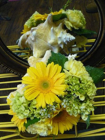 arrangements in shells, yellow