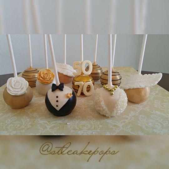 gold white anniversary cake pops