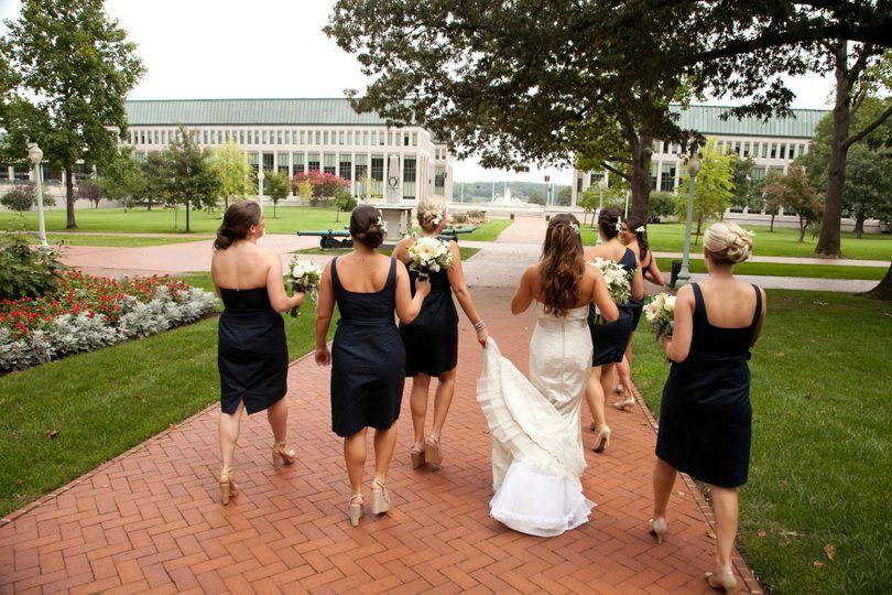 Walking bride and bridesmaids