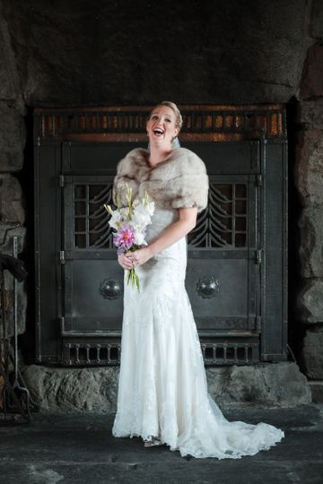 Bride In Front Of Fireplace