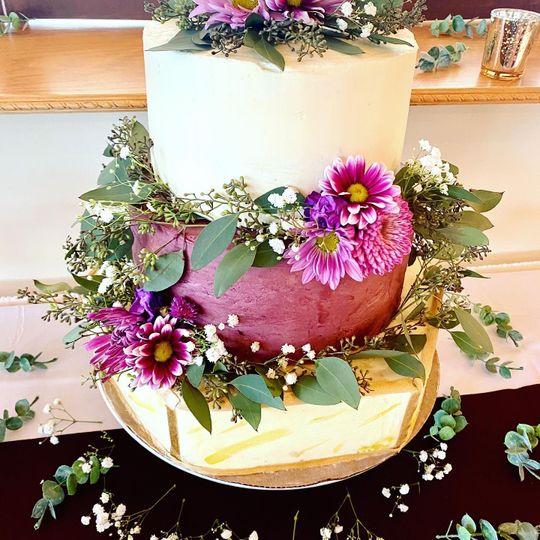 Plum Hexagon Wedding Cake