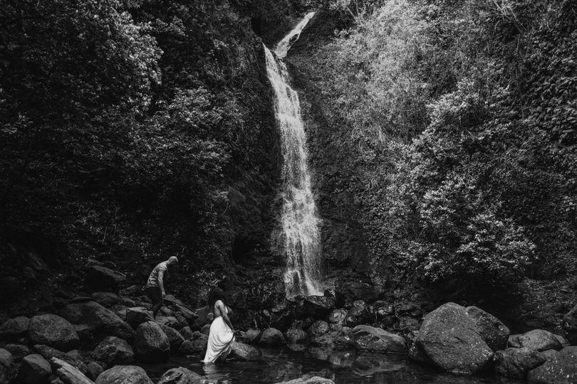 Destination wedding waterfall