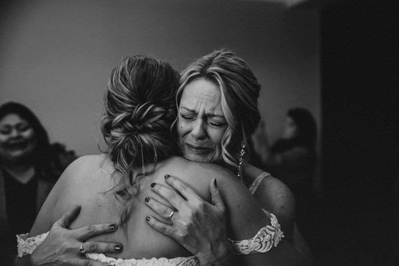 Mother of bride crying tears