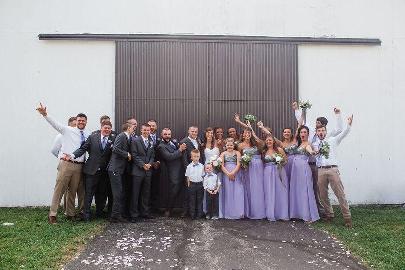 Wedding fun outside The Barn