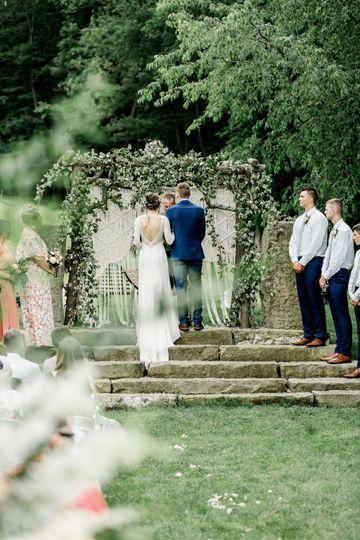 Outdoor ceremony on the ground