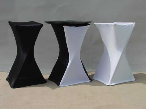 Spandex Tray Covers Available in Black and White