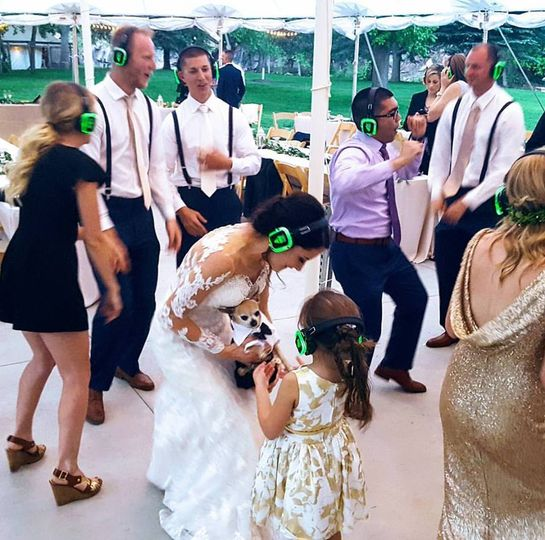 Silent party bride dancing