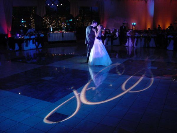 Setting the mood for true romance!  LED lighting, Spot Lighting & Monogram Image Projection....