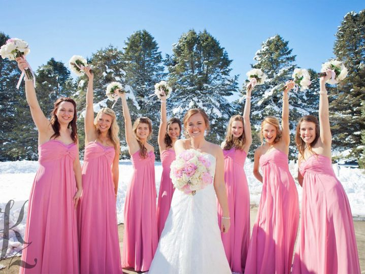 Winter Wedding with pink dresses