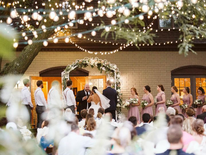 Outdoor Ceremony with twinkle lights