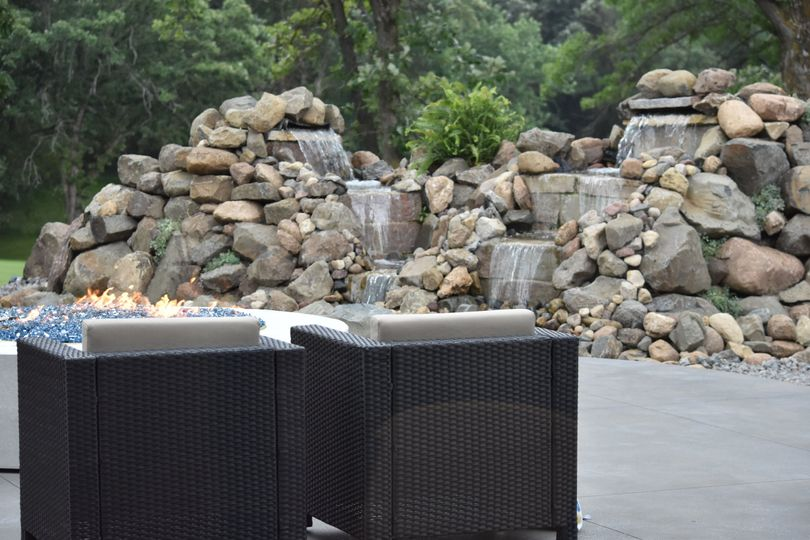 The waterfall on the patio