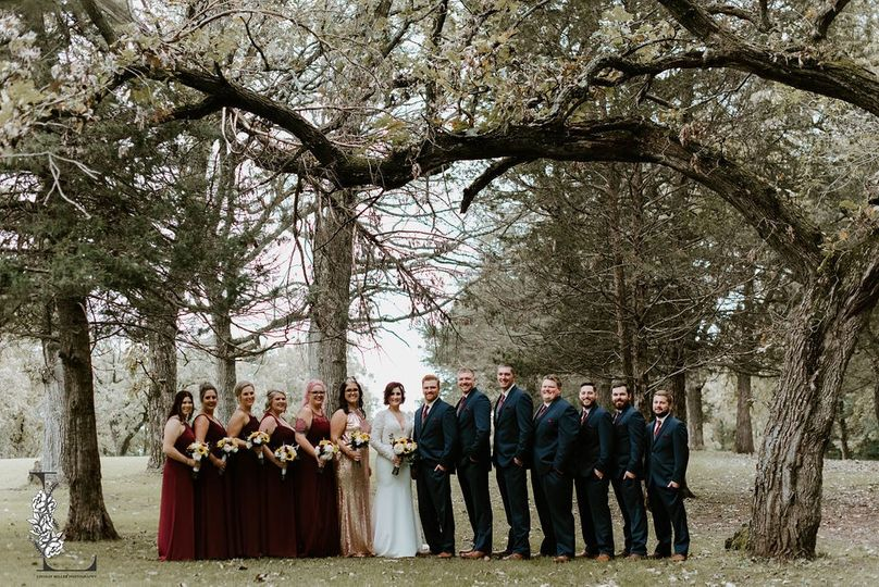 Bridal Party under tree