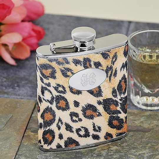 Personalized Leopard Print Glitter Flask http://www.marilynskeepsakes.com/bridal-party-gifts/