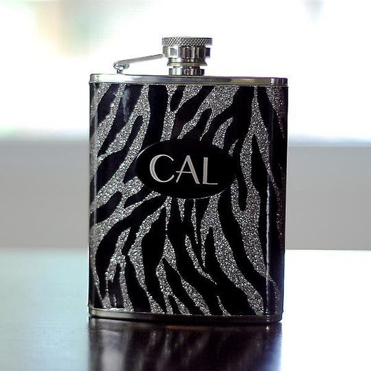 Personalized Zebra Print Flask http://www.marilynskeepsakes.com/bridal-party-gifts/