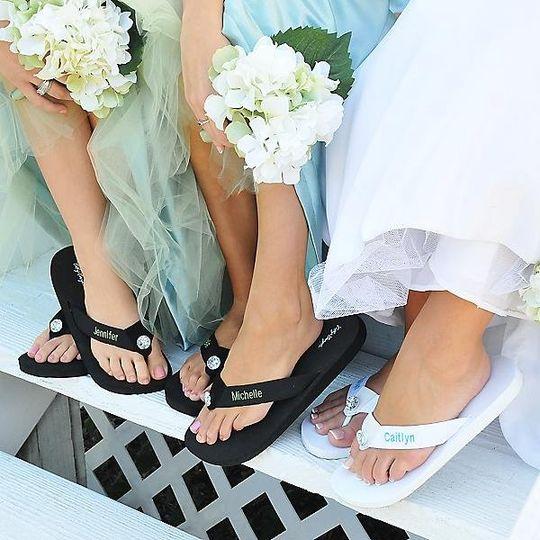 Personalized Flip Flops http://www.marilynskeepsakes.com/bridal-party-gifts/