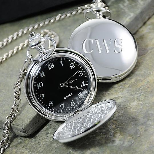 Personalized Black Faced Pocket Watch http://www.marilynskeepsakes.com/bridal-party-gifts/