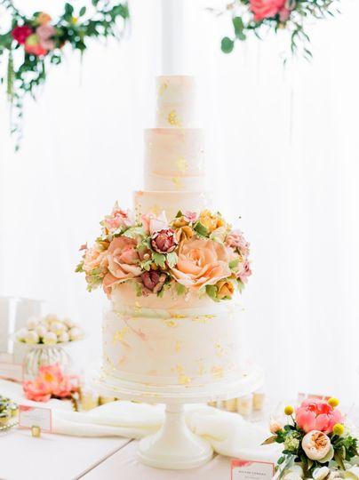 Coral Marbled Wedding Cake