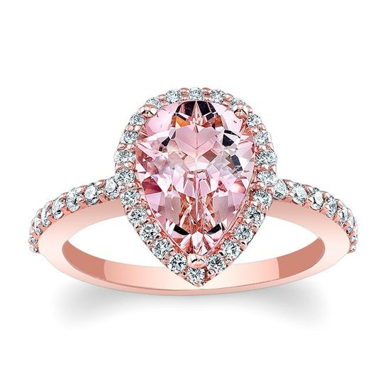 Pear Shape Morganite Barkev's Designer Halo Ring! MOC-7994LP