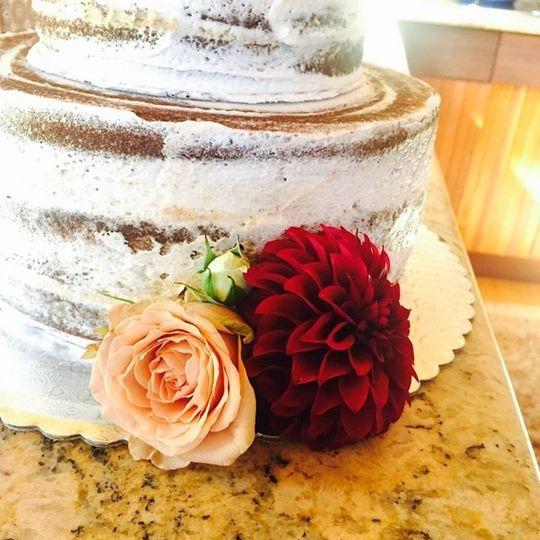Flowers on naked cake