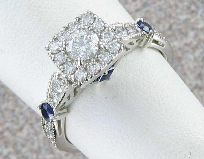 14k white gold diamonds and sapphires