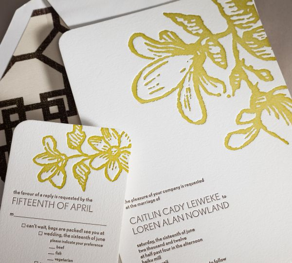 Letterpressed Invitations come from Kathleen Cooper in Santa Barbara for couple residing in...