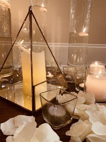 Lantern and vases
