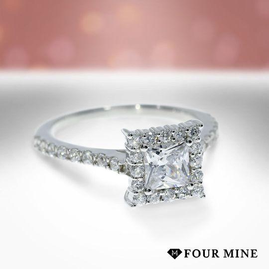 Floating Halo Princess Diamond Ring