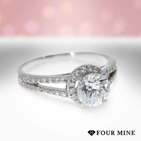 Rising Split Shank Halo Diamond Ring