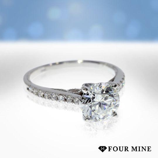 Milgrain Cathedral Diamond Ring