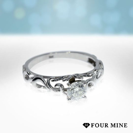 Scroll Solitaire Diamond Ring