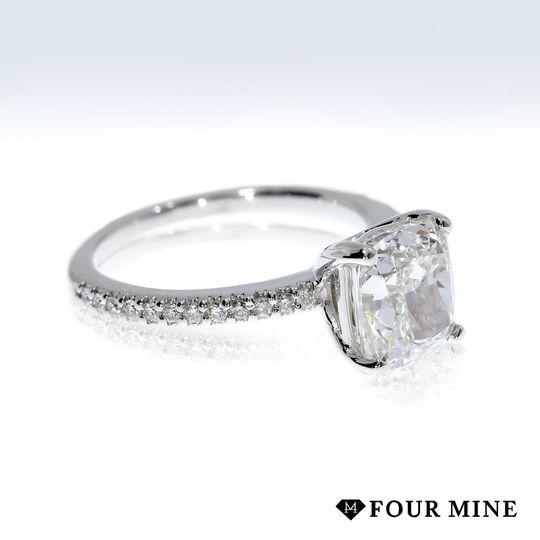 Cushion French Cut Pave Diamond Ring