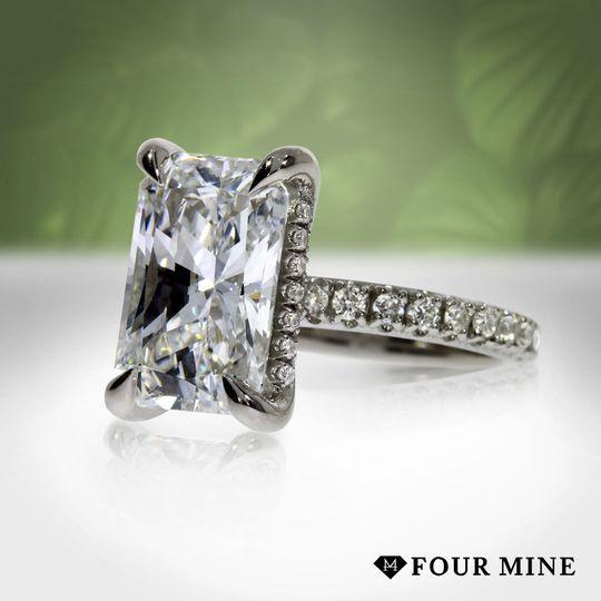 Diamond Basket Pave Engagement Ring