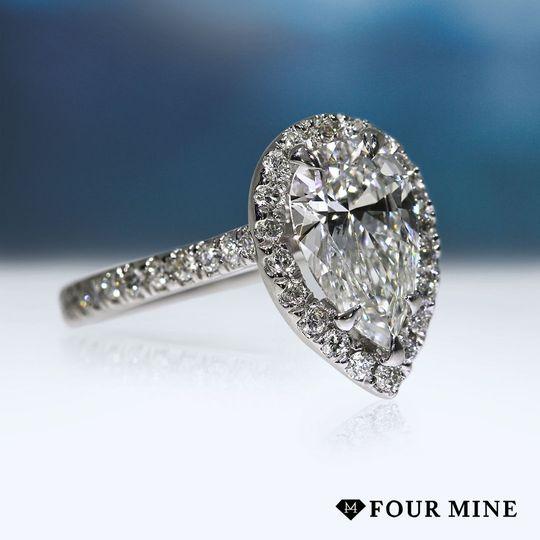 Pear Pave Halo Diamond Ring