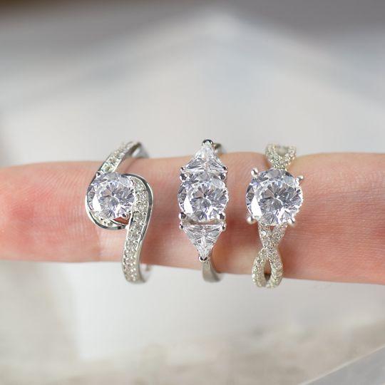 3 White gold rings
